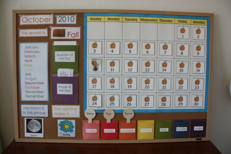 Perfect calendar display. Particularly love the day pockets to teach yesterday, today, tomorrow. Note also question of the day for graphing activity.