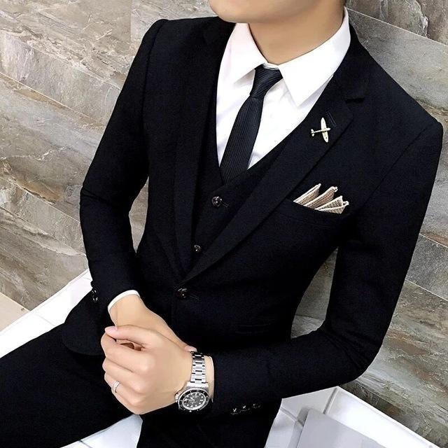 High Quality Men black gold tuxedo men suit black 3 pieces mens formal suits costume homme wedding suits for men mens suits #menssuit