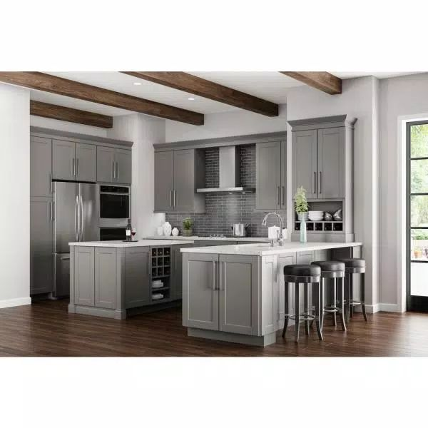 Hampton Bay Shaker Dove Gray Stock Assembled Wall Kitchen ...
