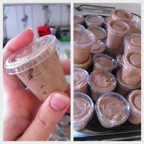 Pudding Shots! This could be trouble. .. • 1 small package of Instant Chocolate Pudding • 3/4 cup of Milk • 1/4 cup of Vodka • 1/2 cup of Irish cream.