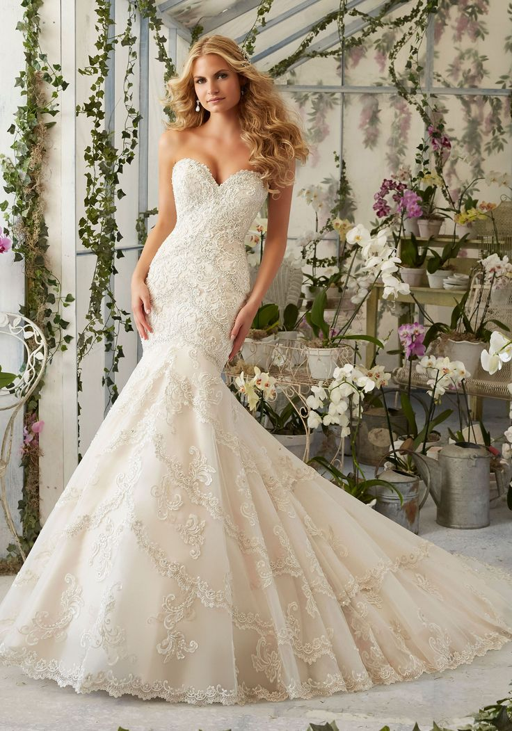 Cute View Dress Mori Lee Bridal SPRING Collection Embroidered Appliques and Edging with Crystal Beading on Tulle