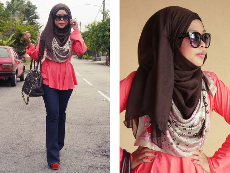 """smart idea...wrap a silky scarf around your neck for an extra """"pattern"""" to your scarf and outfit"""