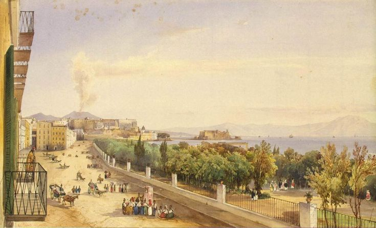 giacinto gigante - riviera di chiaia in naples, 1837, watercolour and gouache. (the hermitage, st. petersburg)