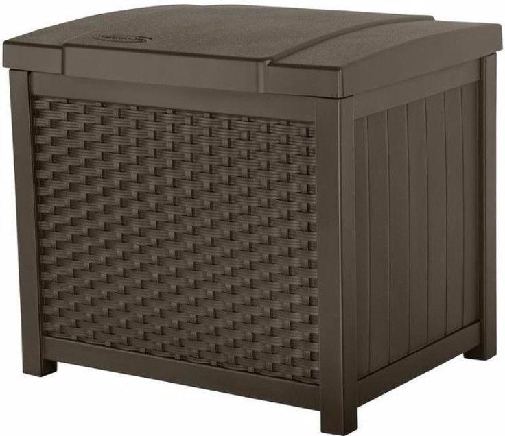 22 Gal. Resin Storage Deck Box Contemporary Weather Resistant Patio Garden Use #storage