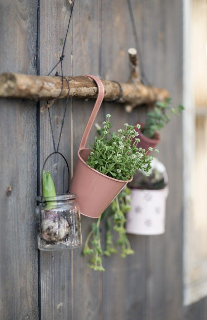 "DIY : Plant hanger Remember to make use of the vertical surfaces in your garden or on the balcony. As Anna always says, ""You can never have too much space for flowers and herbs."""
