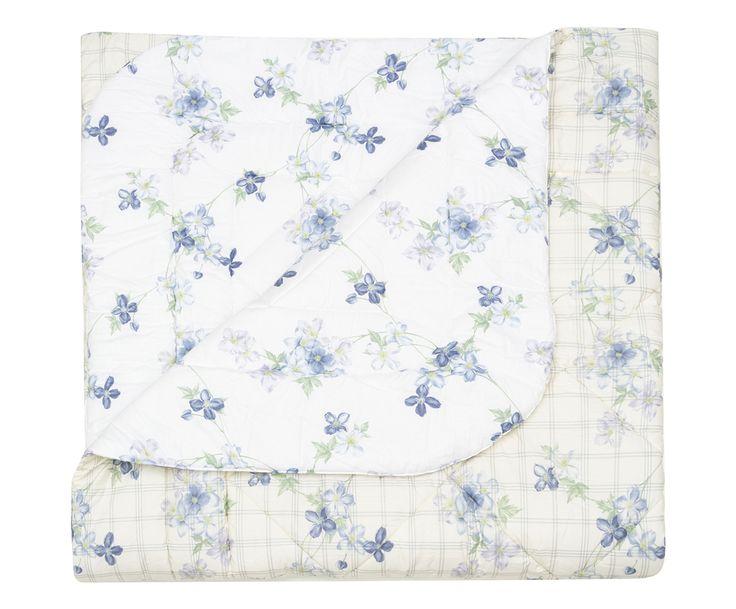 Trapunta matr. in percalle checks azzurro - 260x270 cm | Dalani Home & Living