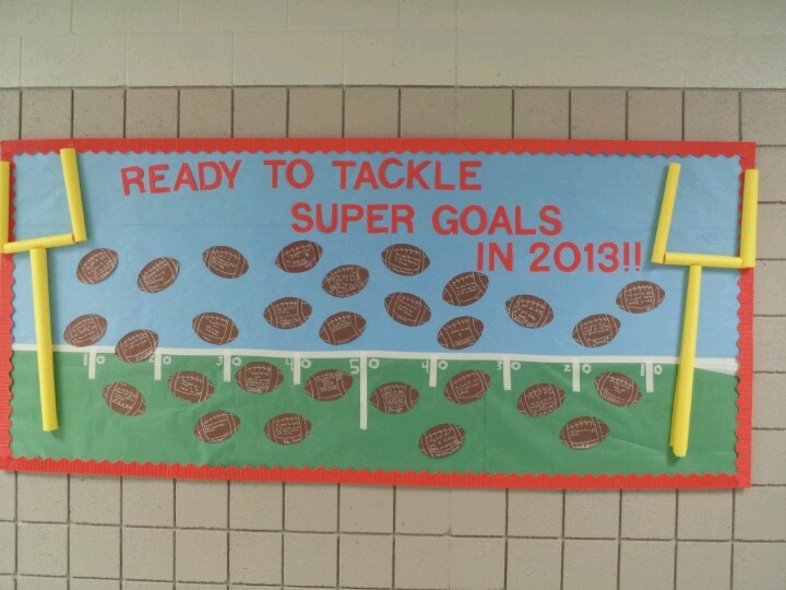 Football bulletin board for new year/Super Bowl. Children write goals for the year on the footballs. Have fun!