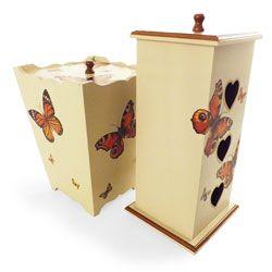 Conjunto para Banheiro - Lixeira e Porta Papel Higiênico - Madeira MDF - Decoupage Borboletas