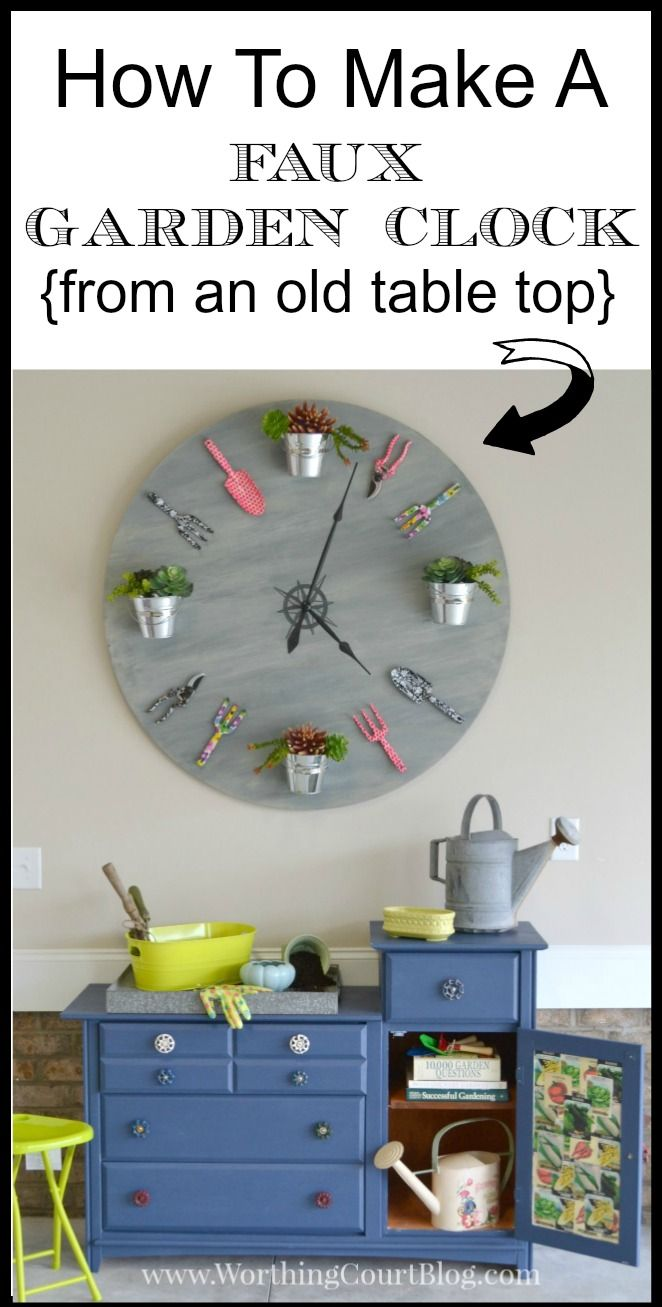 """Make a truly eye-catching piece of """"art"""" with an old tabletop, some gardening tools and a few other supplies.  This is an easy and fun project!  Find out all you need to know to make one for yourself at Worthing Court Blog."""