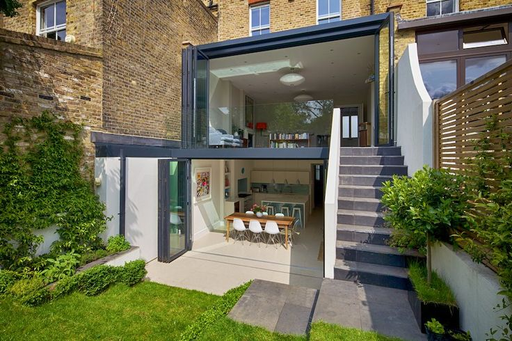 We love this double storey glass-fronted extension #bi-folds #rearextension