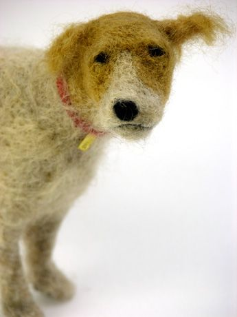No. 7 in a series of very charming handmade woolen dogs by artist Domenica More Gordon. 8.5 x 5 in. via the artist's site