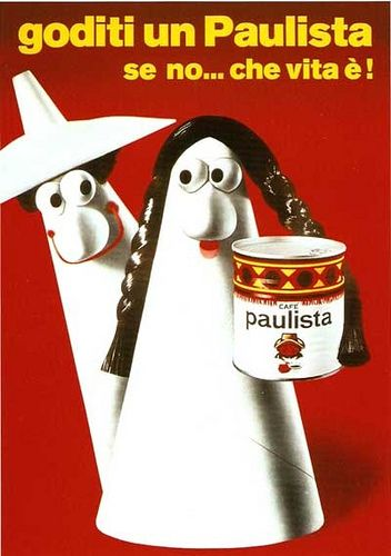 ¤ Italian ad for 'Paulista' ~ Carmencita and Caballero for the coffee Paulista della Lavazza. Italy 1962 by Armando Testa. Via History of Graphic Design Flicker.