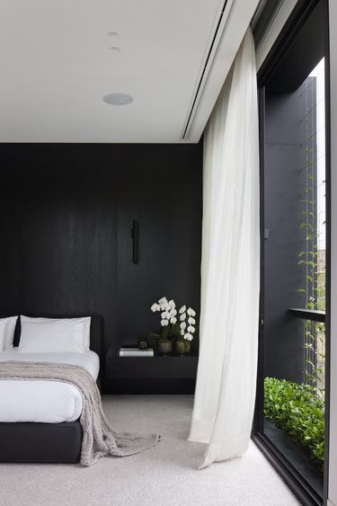 A bedroom with high contrast
