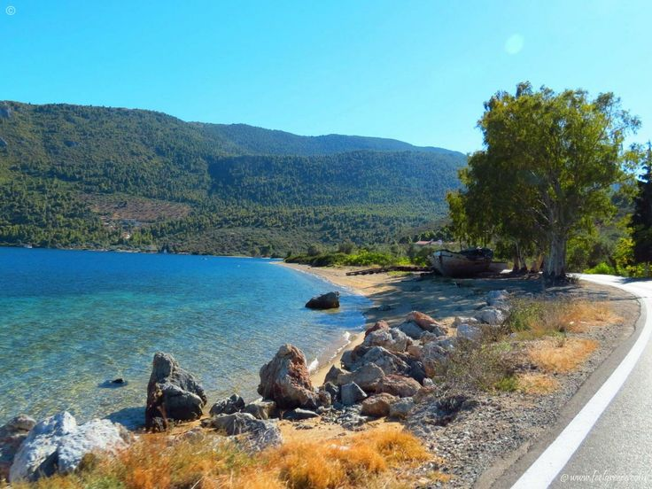 A lonely beach by the road in north Evia