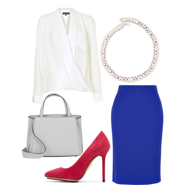 Color in the Office by dearmissj on Polyvore featuring Topshop, Alexander McQueen, Charlotte Olympia and Valextra