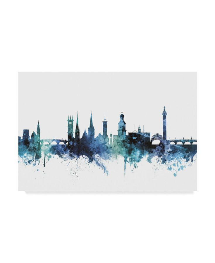 Michael Tompsett 'Shrewsbury England Blue Teal Skyline' Canvas Art – 19 x 12