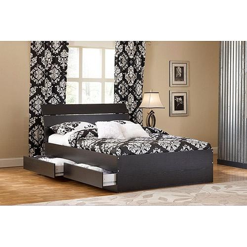 laguna full platform bed with headboard, black woodgrain 2