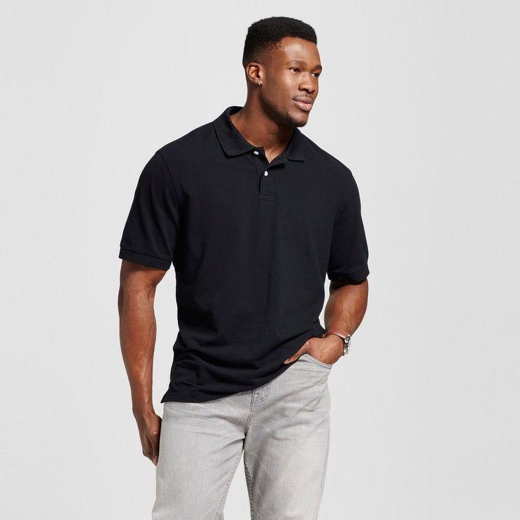 Men's Big & Tall Polo Black 3XB Tall - Merona