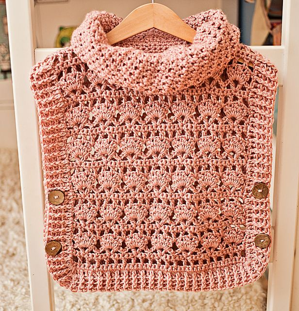 This poncho - pullover will brighten up grey autumn days, is warm and versatile, and is easy to make! Pattern includes many sizes!