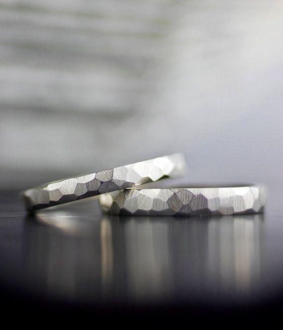 Set de anillo de bodas - 18K, 14K oro blanco facetado anillo de boda set - blanco, amarillo o rosa, platimum - respetuoso del medio ambiente