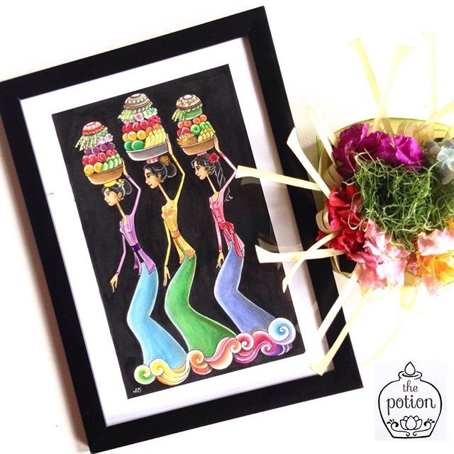 Balinese Illustration of Girls Going to Temple