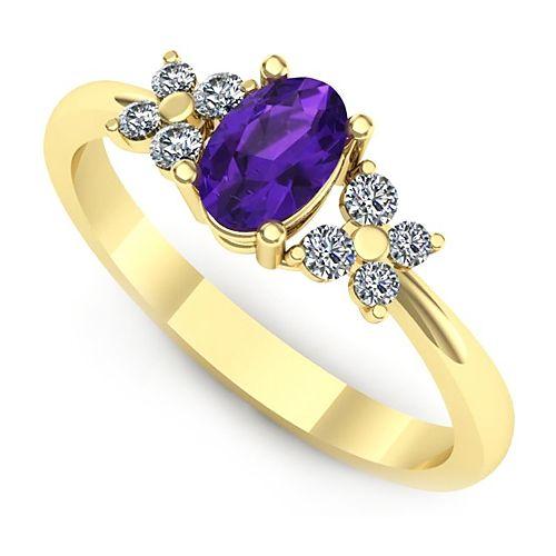 Inelul este format din 1 x ametist, dimensiune: ~6.00x4.00mm, forma: oval; 4 x diamant, dimensiune: ~1.50mm, greutate totala: ~0.06ct, forma: round; 4 x diamant, dimensiune: ~1.80mm, greutate totala: ~0.09ct, forma: round