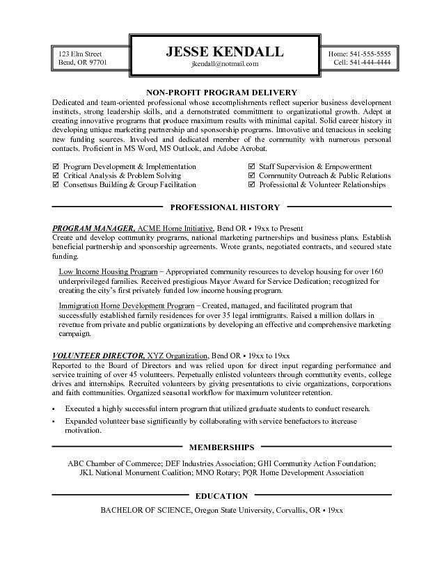 Resume For Non Profit Template