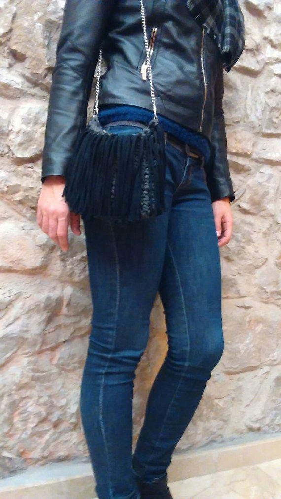 Bolso de flecos gris bolso de flecos negro clutch tejido por Tayny