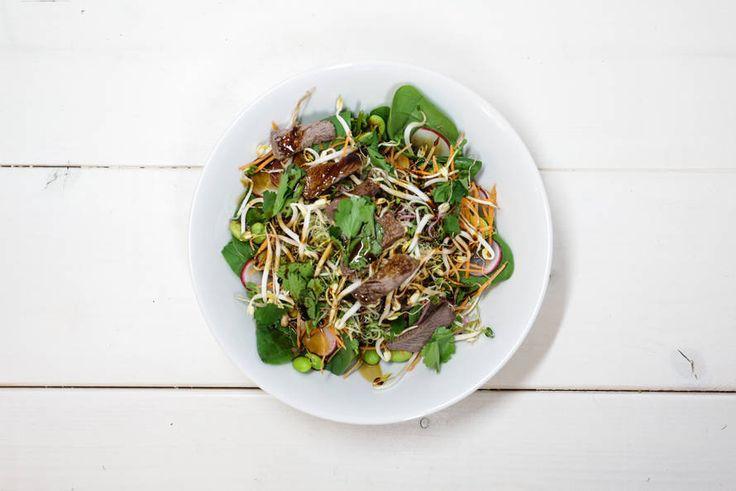 Kijk wat een lekker recept ik heb gevonden op Allerhande! Beautylab's Aziatische salade met Atsina Cress!