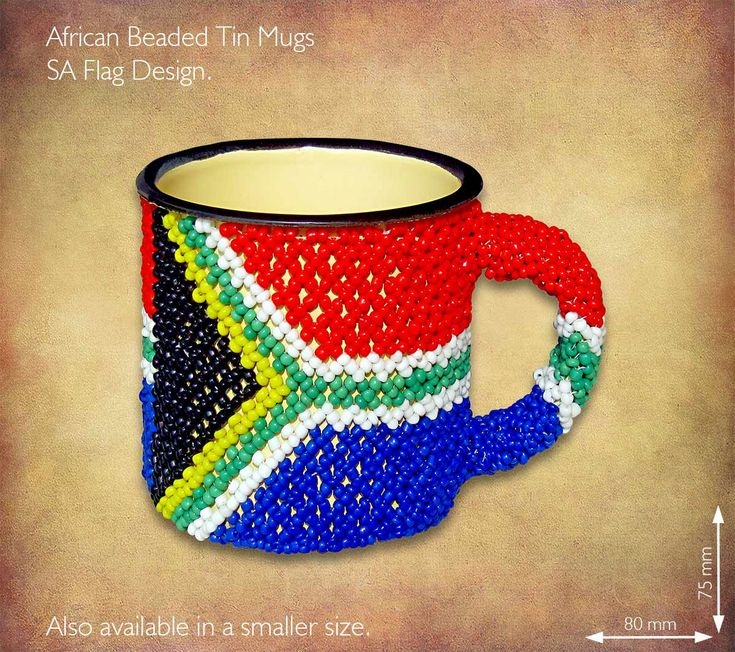 African Beaded tin mug - SA Flag design. Traditional African Beadwork handmade in South Africa by highly skilled Zulu Beadworkers. Wide range of African Beadwork designs available on our website www.earthafricacurio.com