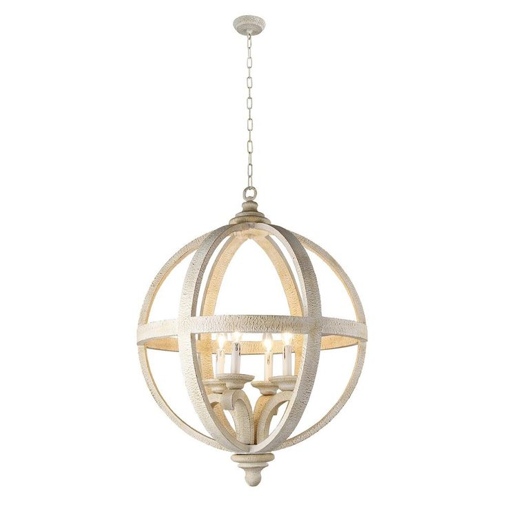 Y Decor Hercules 4-Light Wooden Globe Frame and Neutral Chandelier