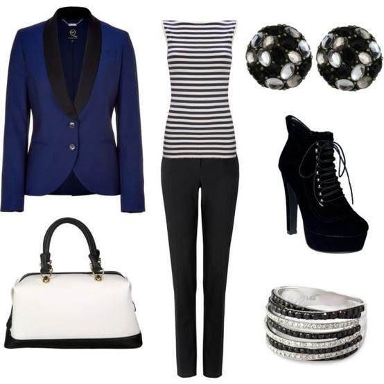 Black & White goes well with dark blue Blazer :) Blazer sticks out.