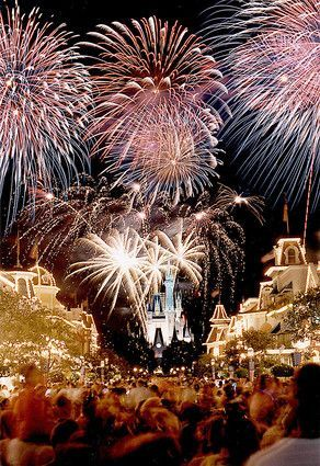 Watch fire works at Disney