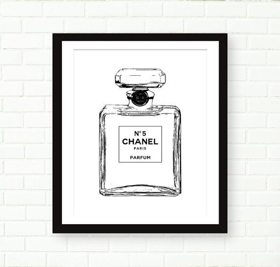 Chanel Bottle Print Chanel no 5 Poster, Black And White Fashion Illustration, PRINTABLE by PeachAndGold