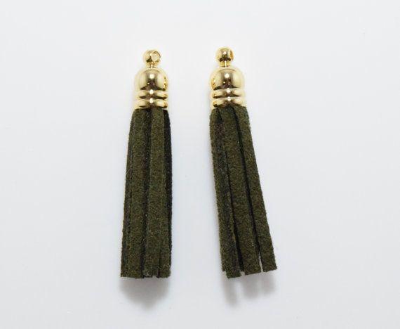 Khaki Suede Tassel Pendant, Jewelry Craft Supply, Polished Gold - 4pcs / RG0034-PGKK