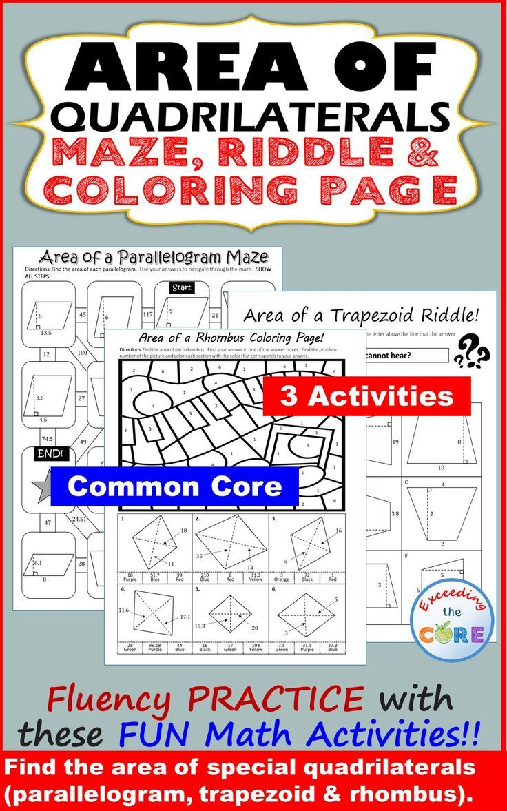 Area Of Quadrilaterals Parallelogram Trapezoid Rhombus Maze Riddle Color Quadrilaterals Activities Math Games Middle School High School Math Activities