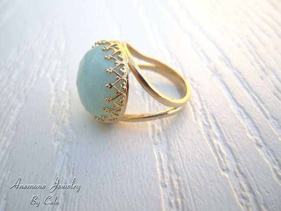Blue: Fashion, Style, Birthday Gift, 14K Gold, Amazonite Ring, Gold Rings, Things, Accessories