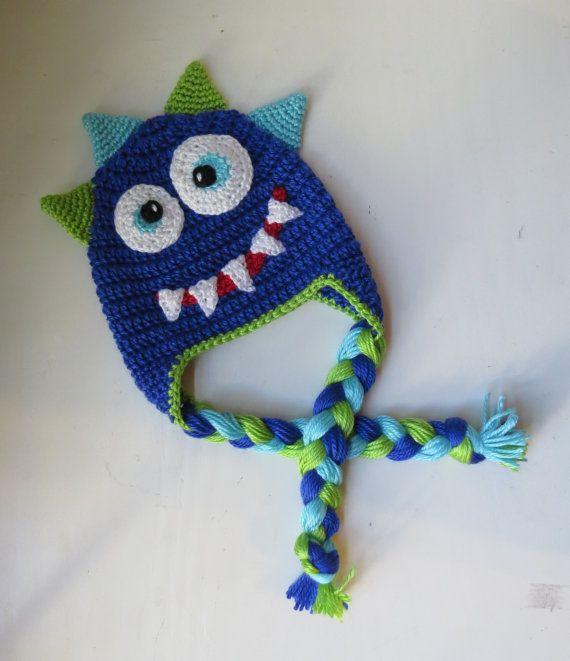 Monster Hat, Crochet Monster Character Hat, Newborn-Adult Sizes, Spiked Head Monster Hat, Monster Earflap Hat, Monster Costume Hat