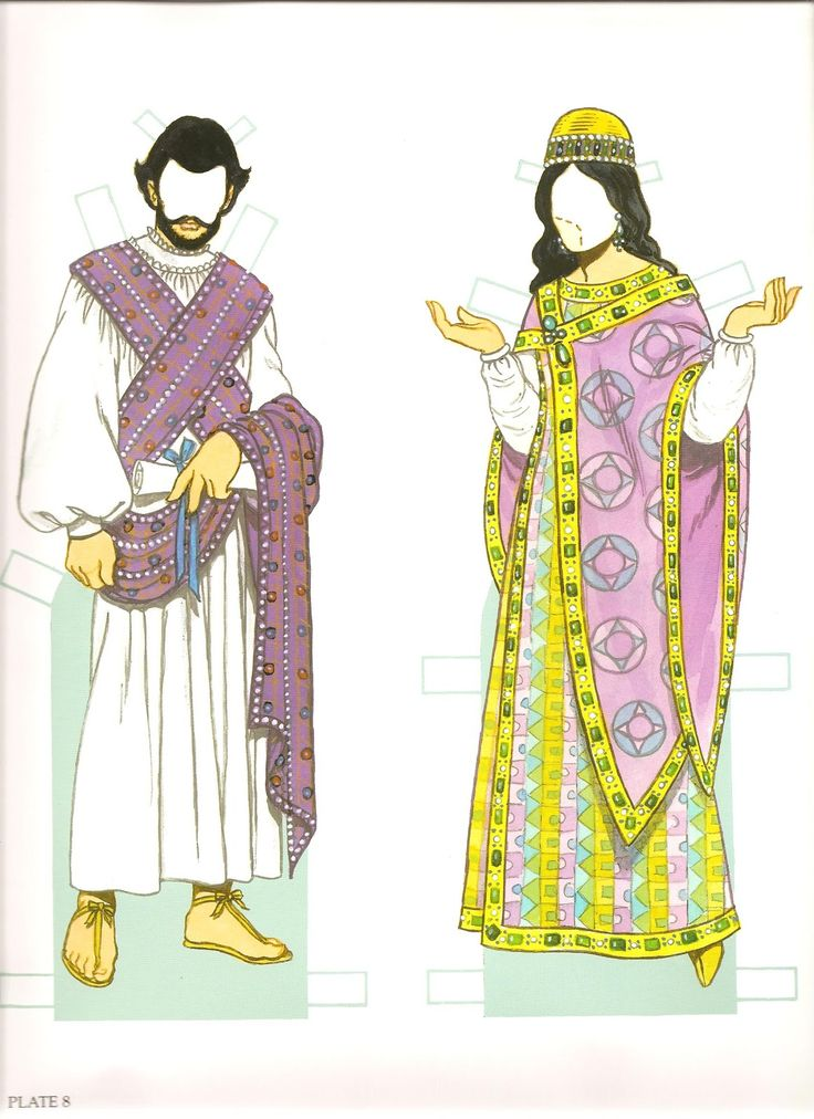 Byzantine Costumes Paper Dolls by Tom Tierney - Dover Publications, Inc., 2002: Plate 8 (of 8)