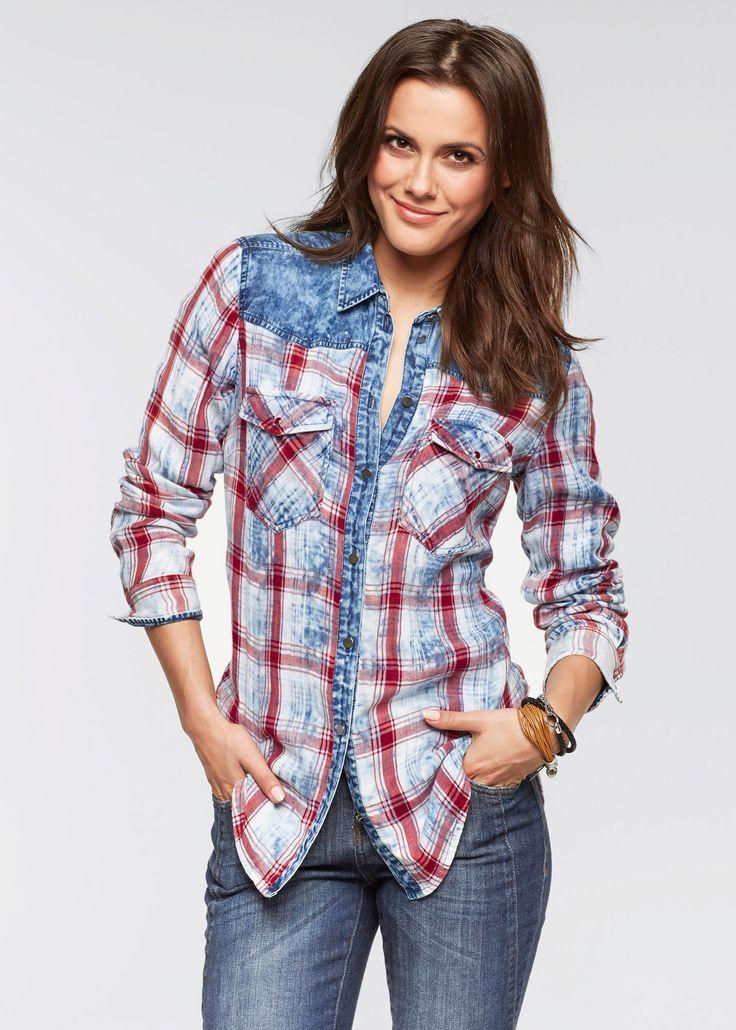 Плед блузка с длинными рукавами и использовать Жан, Джон Baner джинсовая одежда