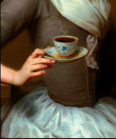 """Detail from 'Eine Kaffee Schenkerinn' Portrait of the Artist's Daughter, Offering a Cup of Coffee, 1732, by Balthasar Denner (1685-1749). Steam rises from the coffee, and the dish is being offered with some rapidity, as seen by the spilt liquid in the saucer. I suggest it is not a cup but a dish or """"tea bowl"""" because while no handle is evident, the date of 1732 is well before handles were put to cups in the late 1750s early 1760s."""