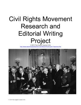 Included in this 11 page document are instructions, printable and gradable organizers, and an example essay for an opinion editorial (op-ed) about a present day civil rights or human rights injustice urging readers to support your cause and take action. An opinion editorial is a 500-800 word essay (5 paragraphs) that comments and responds to issues raised in the news. Students will use examples and reference past struggles from the Civil Rights Movement of the 1950s and 1960s. Grades 6-12. $
