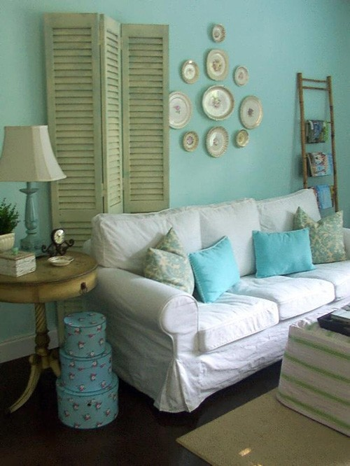 Blue Shabby Chic Living Room