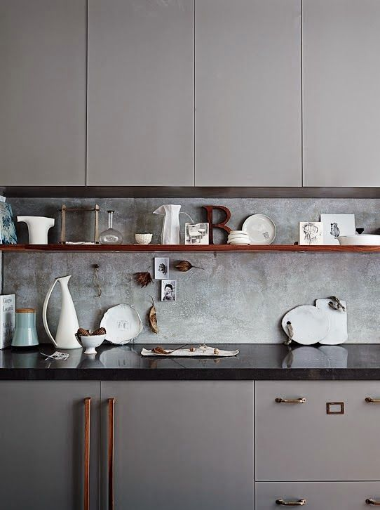 taupe kitchen units - October 2014 issue of Inside Out magazine. Styling by Claire Delmar. Photography by Anson Smart...