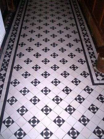 Victorian tiled hallway floor before cleaning by Tile Doctor Shropshire