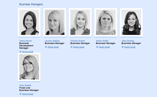 The glass ceiling illustrated in one 'meet the staff' web page - not to mention: that's a lot of white people, among other things