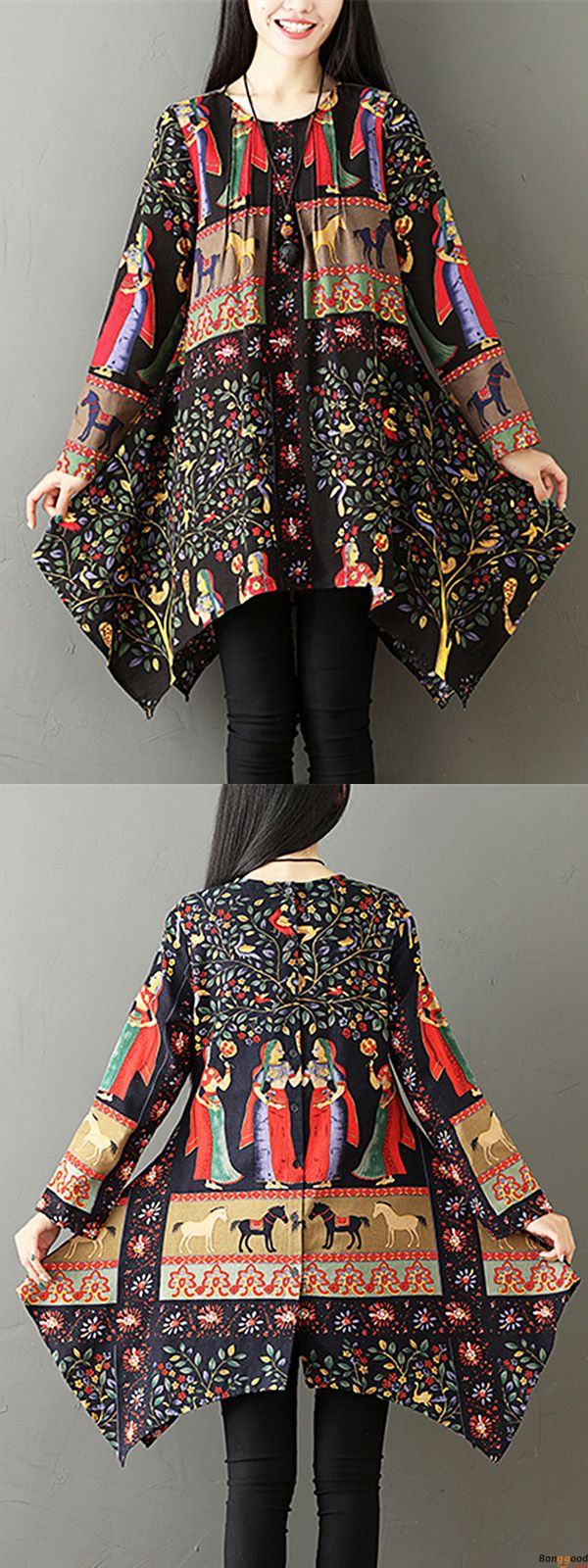 US$25.99 + Free shipping. Size: M~5XL. Color: Black, Blue,  Loving this vintage style. Gracila Ethnic Women Printed O-neck Irregular Blouses. #women #blouses#2018