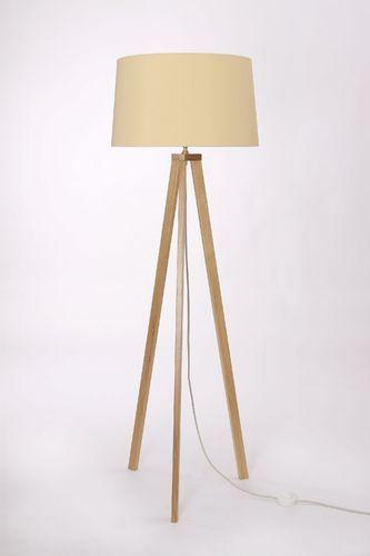 Stehleuchte 3-Bein Eiche natur, Textilkabel beige, Lampenschirm Kegelform, über 150 verschiedene Stoffe und Farben zur Auswahl, Made in Germany
