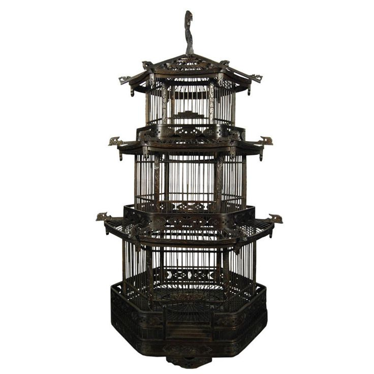 Early 20th Century Chinese Pagoda Bird Cage | From a unique collection of antique and modern bird cages at http://www.1stdibs.com/furniture/more-furniture-collectibles/bird-cages/