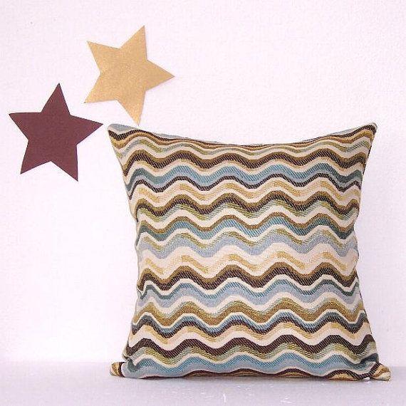 "Striped Waverly Pillow Cover 16"" x 16"" Pillow Brown Tan Blue Cream Sofa Accent Throw Pillow"